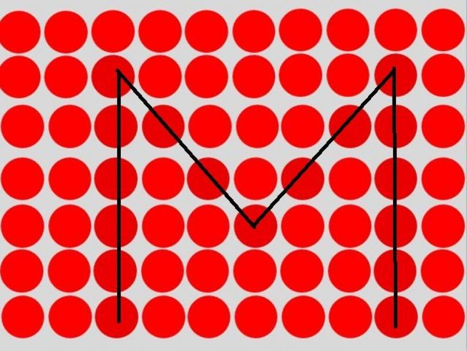 En medio de los círculos rojos puedes encontrar una letra M. (Imagen: playbuzz)