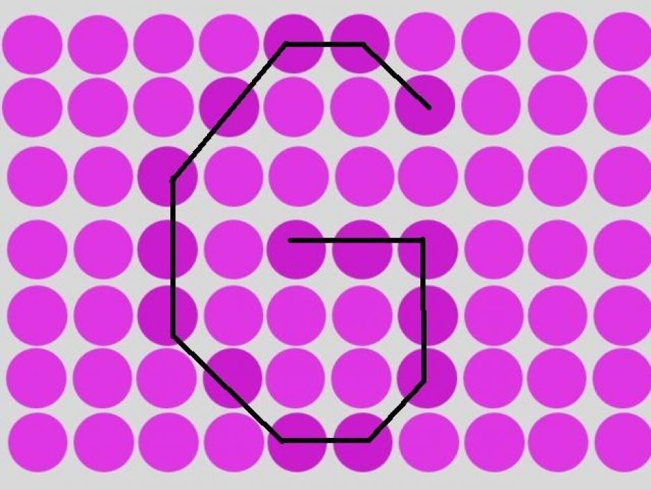 Rodeada de círculos morados se encuentra la letra G. (Imagen: playbuzz)