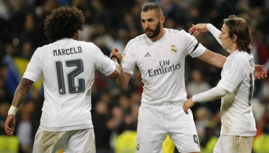 Celebración de Marcelo, Modric y Benzema. (Foto: presencianoticias.com)
