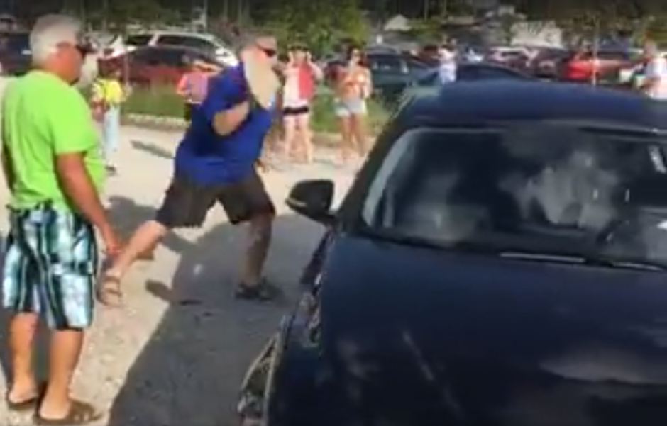 El pequeño cachorro esta encerrado en un carro bajo el fuerte sol de Ontario. (Captura de pantalla: Will Costa/Facebook)