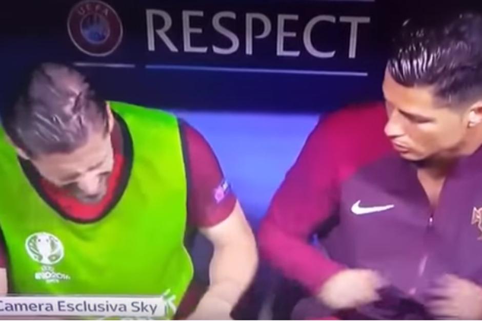 Cristiano Ronaldo golpeó a un compañero y casi nadie se percató. (Foto: Cámara exclusiva de Sky)