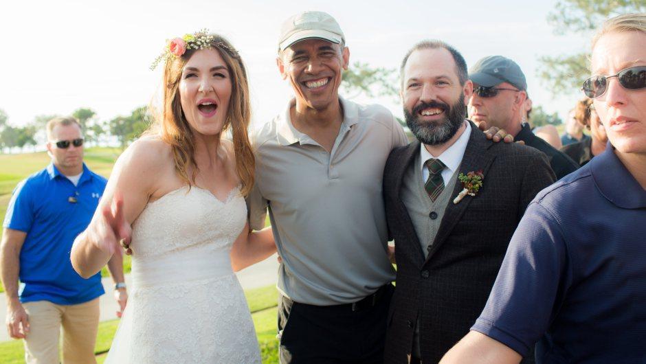 Obama irrumpe en una boda en california foto
