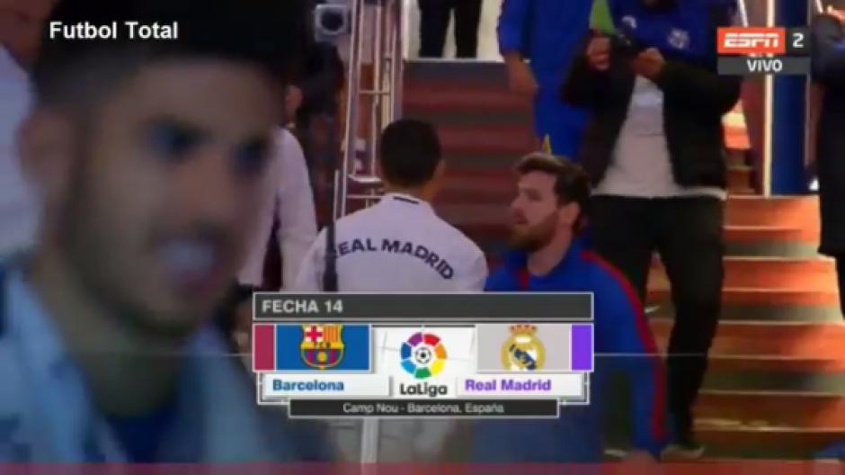 El saludo de Messi a Cristiano previo al clásico dejó claro que se llevan bien. (Foto: Captura de video)