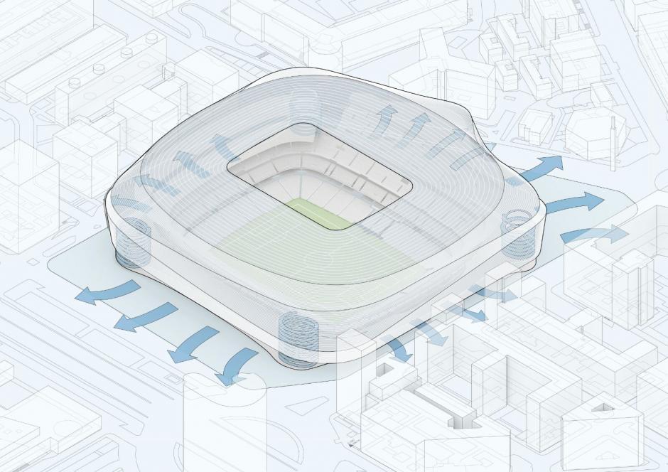 Contará con alrededor de 20 accesos para facilitar el ingreso y evacuación del estadio. (Imagen: nuevoestadiobernabeu.com)