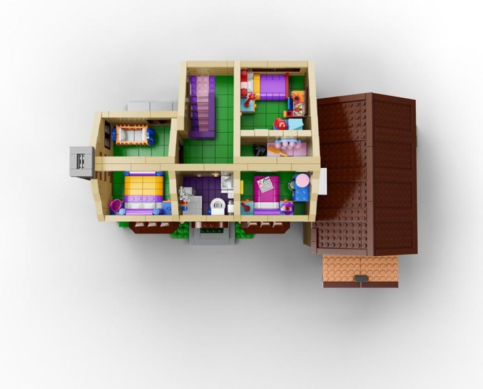 Vista aérea de la casa de Lego de Los Simpson, tal y como aparece en la serie animada.