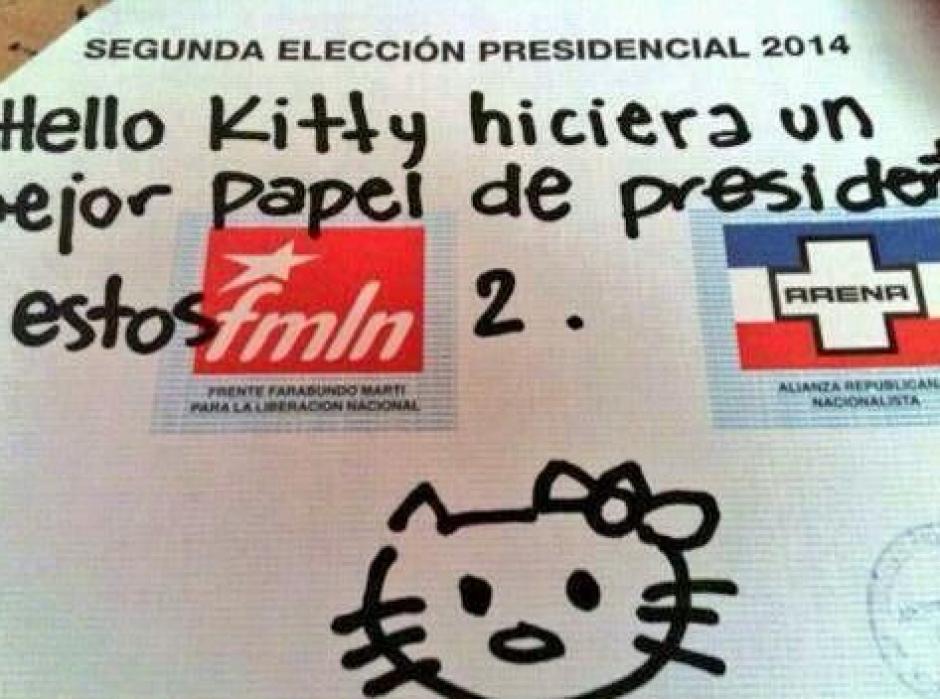 """""""Hello Kitty"""" fue otro de los dibujos que aparecieron en los votos. (Foto: El Faro)"""