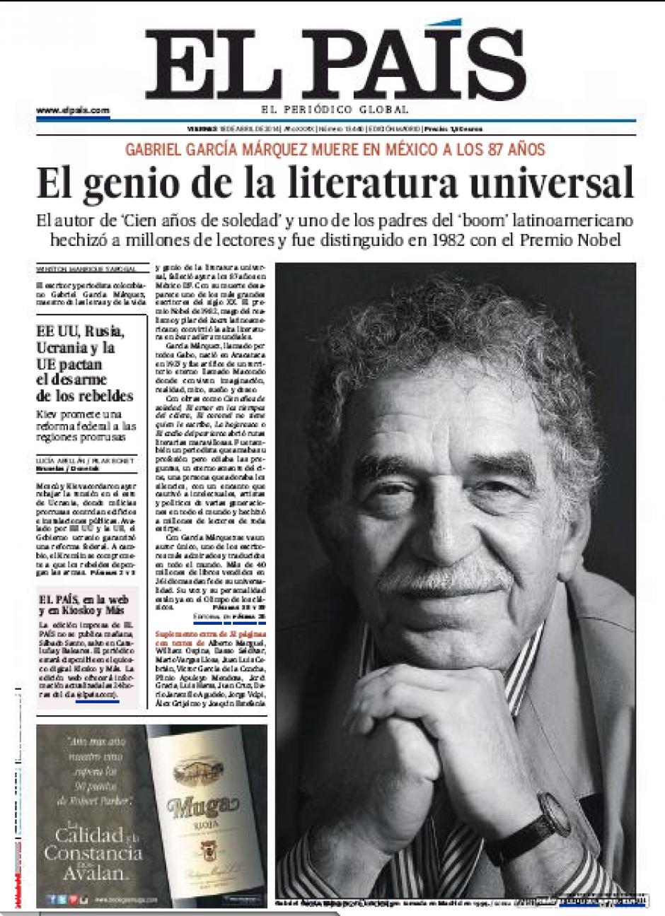 En España, diario El País le concedió media portada a la foto del genio colombiano. (Foto: Soy502)