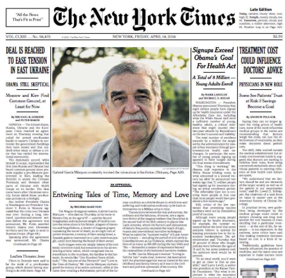La nota central de la portada del New York Times está dedicada a rememorar a Gabo. (Foto: Soy502)