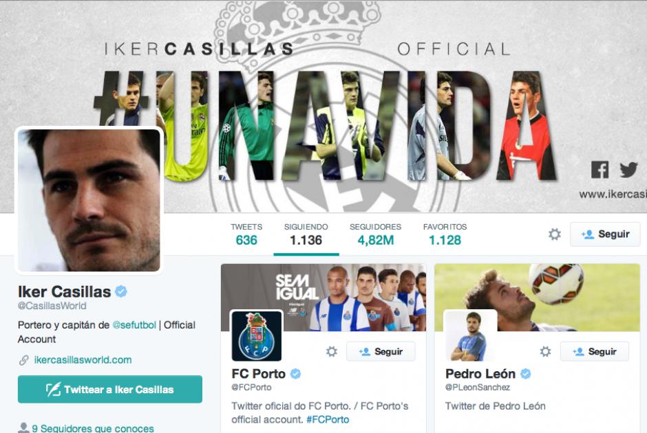 Iker Casillas ya sigue y es seguido por el @FCPorto en Twitter