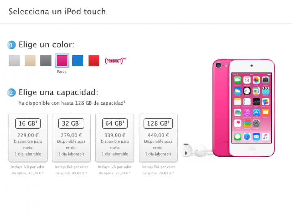 El sitio web oficial de Apple ha dado a conocer los precios del nuevo iPod Touch. (Imagen: Apple)