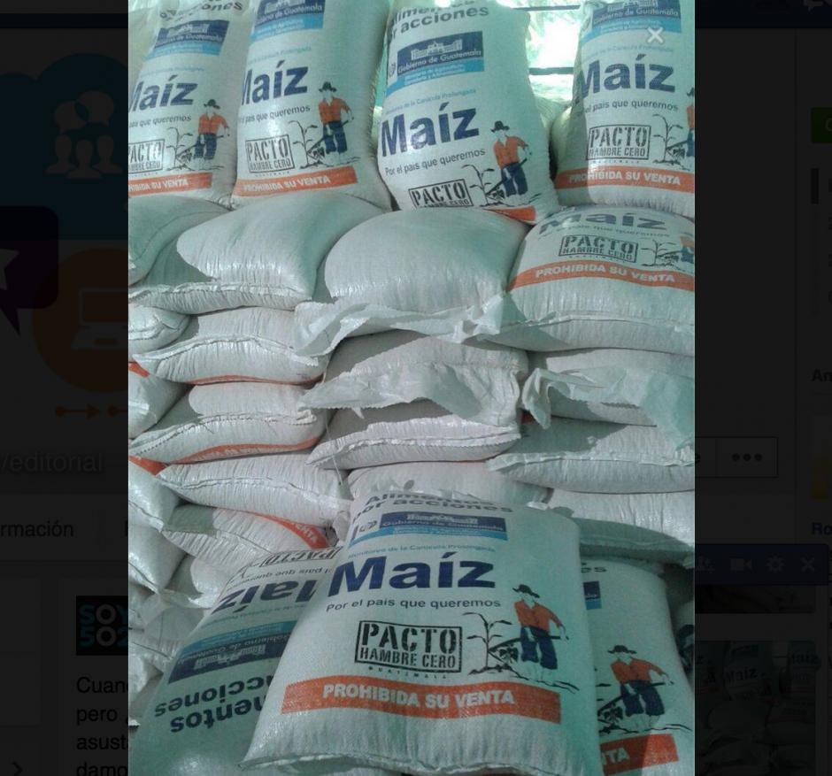 Detalle de los sacos de alimentos entregados en Huehuetenango. (Foto: Soy502)