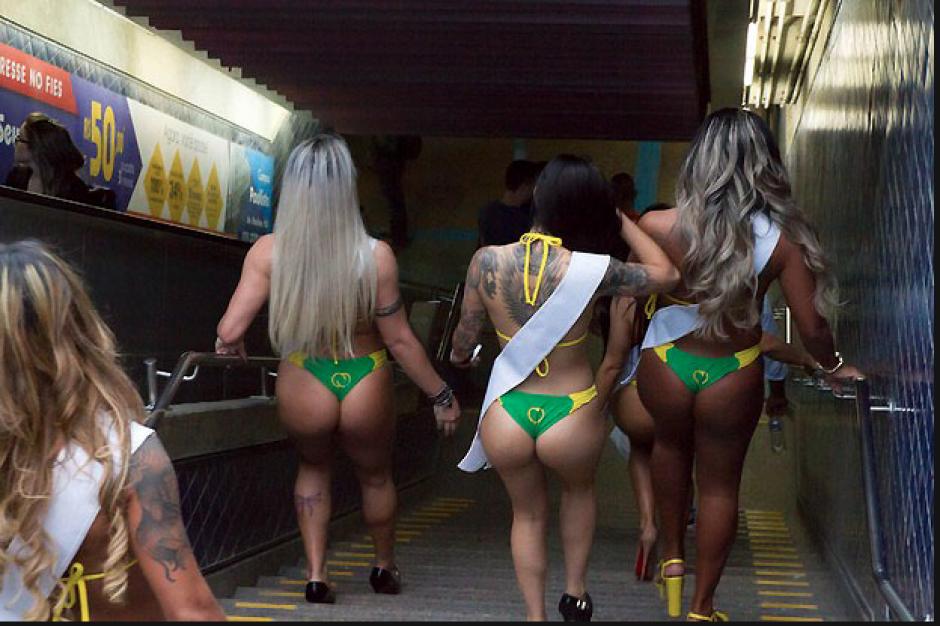 Fue imposible que los usuarios del metro de Sao Paulo, no voltearan o se detuvieran a ver a las aspirantes al Miss Bum Bum Brasil 2015. (Foto: Miss Bum Bum)