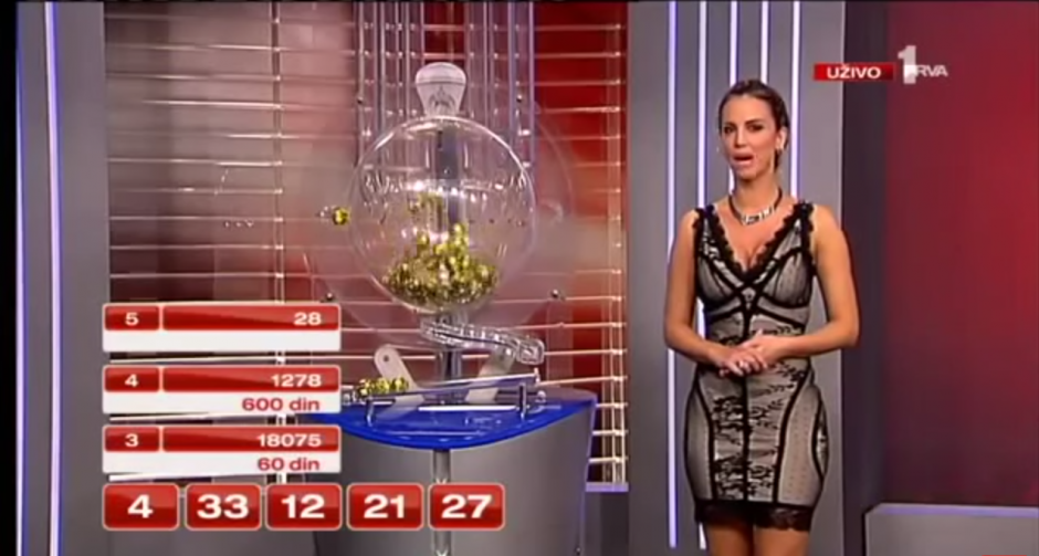 Un modelo relata a los televidentes el número que trae cada una de las bolitas que sale del bombo. (Imagen: YouTube)