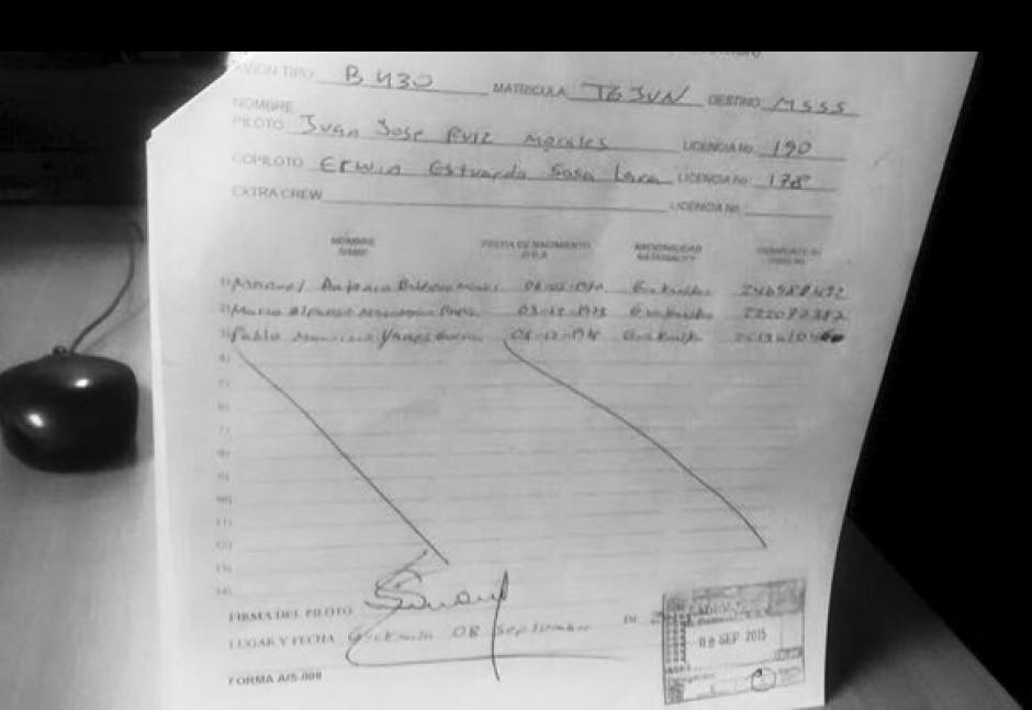 Aparentemente este es el plan de vuelo que utilizó para llegar a El Salvador este martes. (Foto: Enrique Godoy/Facebook)
