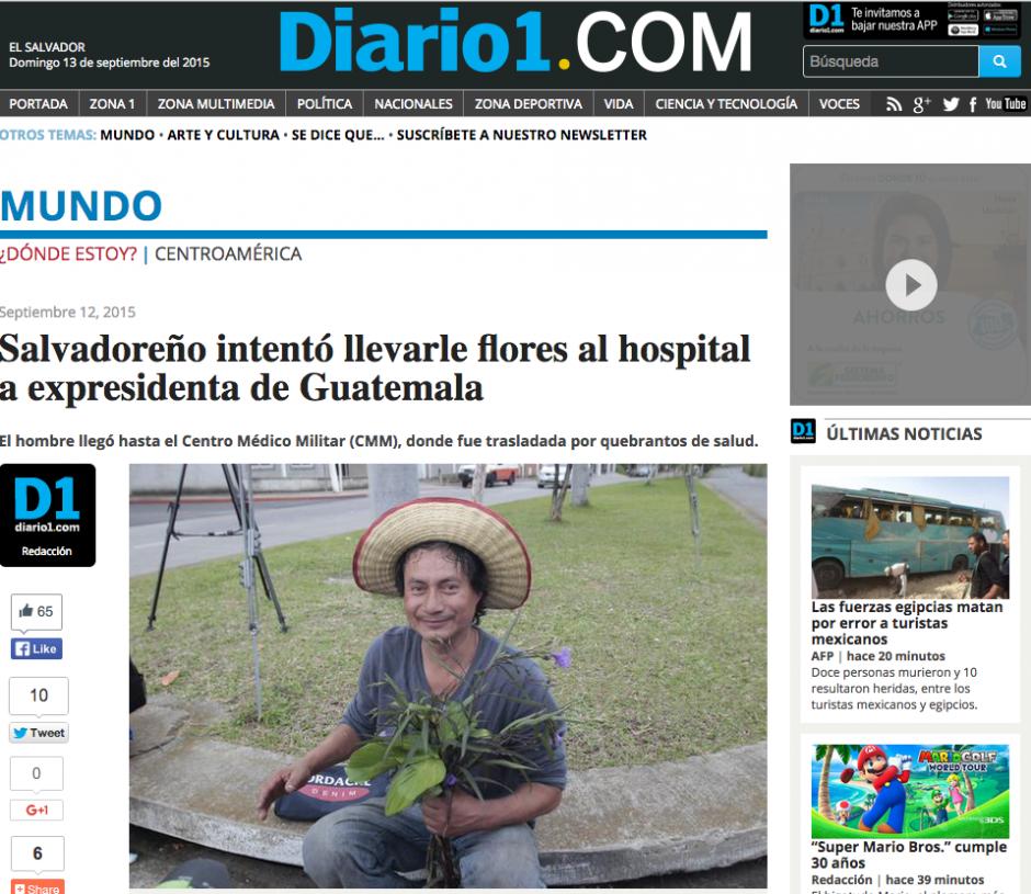 El www.diario1.com de El Salvador también publicó la nota del hombre que llevó flores a Baldetti.