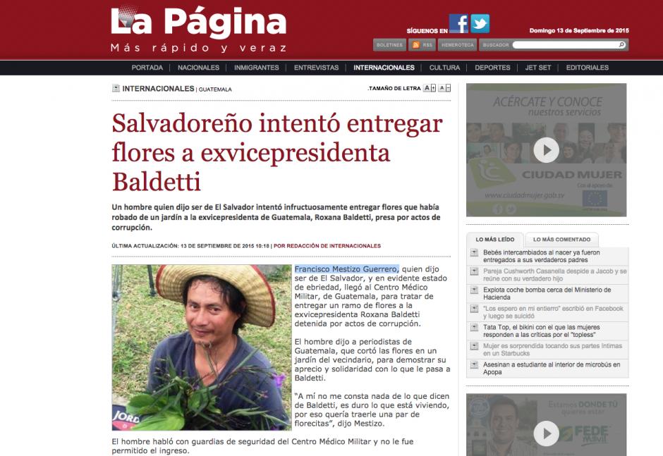 """El portal """"La Página"""" también publicó acerca de Manuel Francisco Mestizo Guerrero, el admirador de Roxana Baldetti; los comentarios fueron diversos y hasta polémicos."""