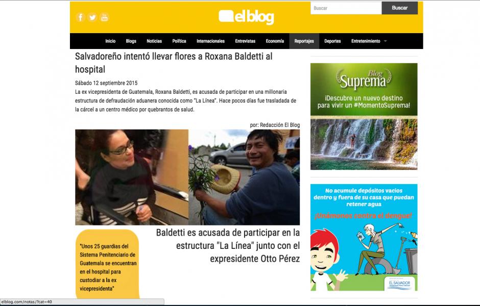 En www.elBlog.com el admirador de Baldetti también tuvo su espacio y abrió el debate y la polémica entre los que comentaron.