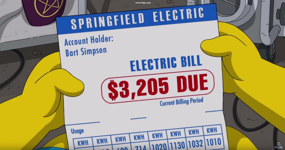 Tras revivirlo, le enseña una factura de consumo eléctrico a nombre de Bart.(Foto: YouTube)