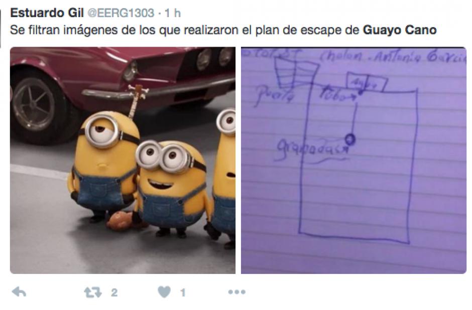 """Algunos cibernautas adjudican la autoría del plan de """"Guayo"""" Villatoro Cano a niños o personajes de cine. (Foto @EERG1303)"""
