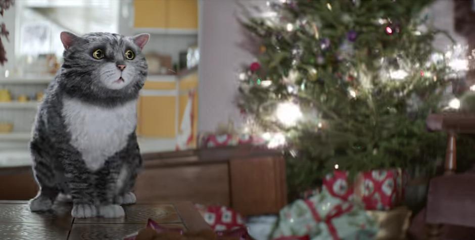 El gato Mog observa como se queman las luces del árbol de navidad. (Foto: YouTube/Sainsbury's)