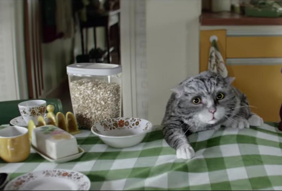 Mog tira todos los platos de la mesa accidentalmente.(Foto: YouTube/Sainsbury's)