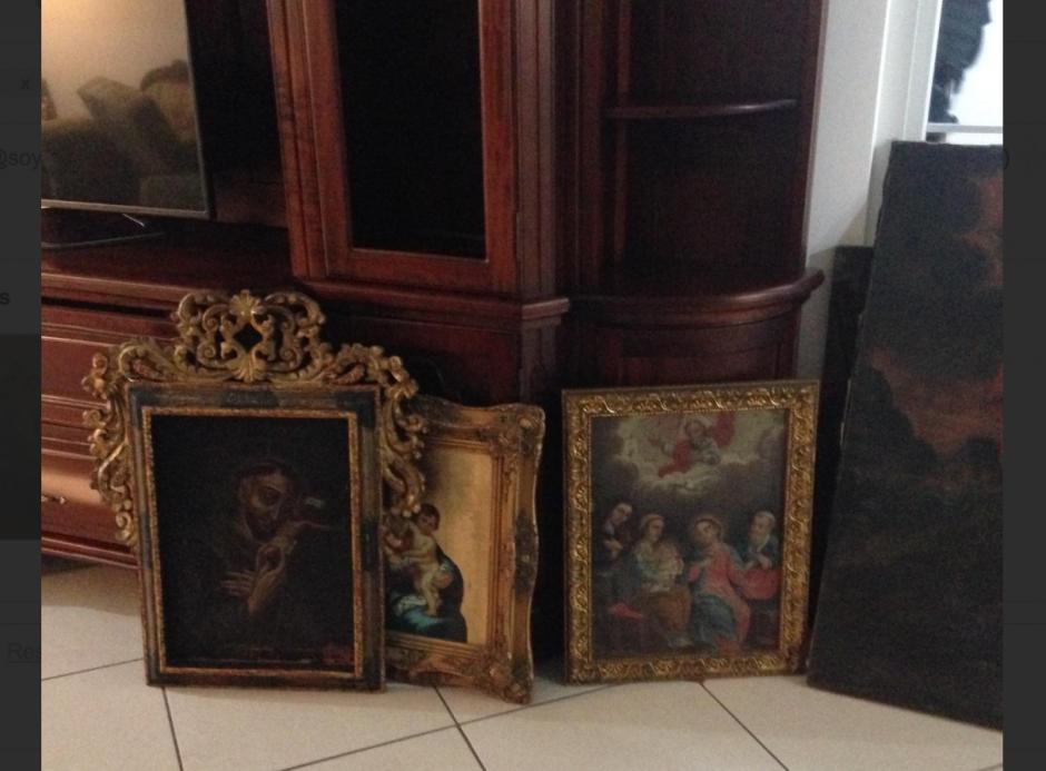 En total, son 24 obras de arte las encontradas por la PNC y el MP durante el allanamiento. (Foto: PNC)
