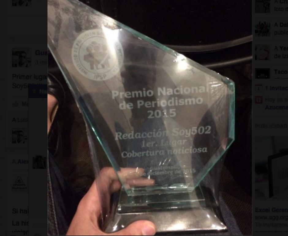 Este es el Premio Nacional de Periodismo que otorga el Instituto de Previsión Social del Periodista. (Foto: Jesús Alfonso/Soy502)