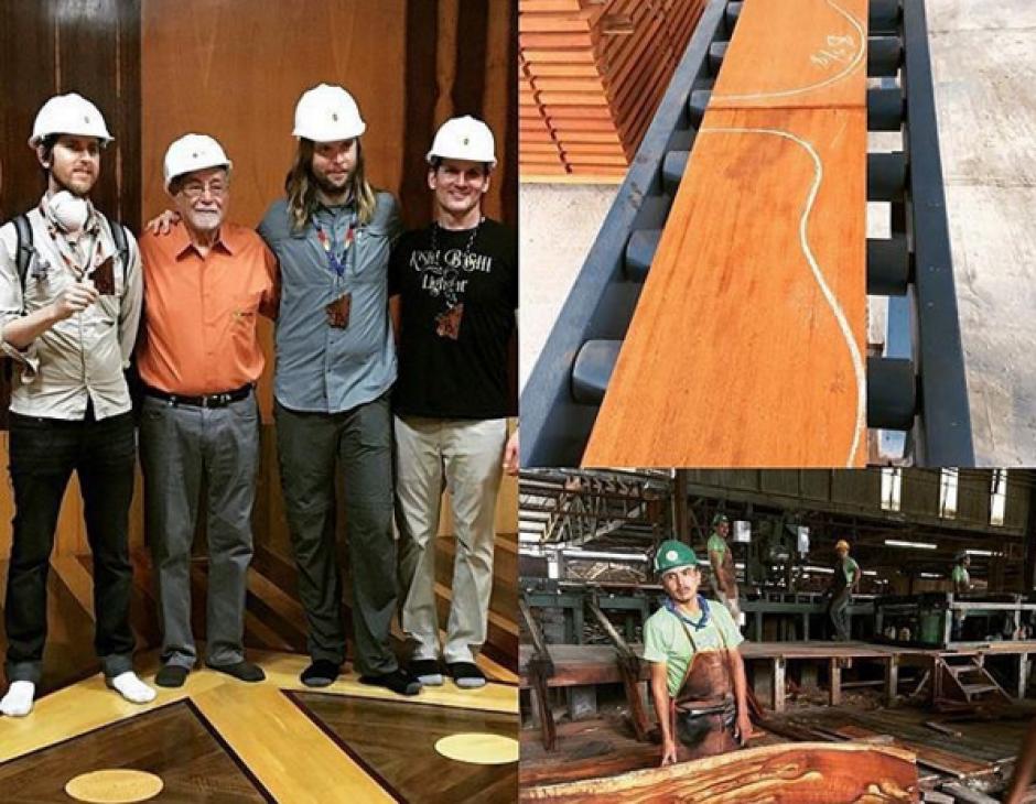 Los tres visitaron un aserradero donde se utiliza madera para realizar guitarras. (Foto: Instagram/James Valentine)