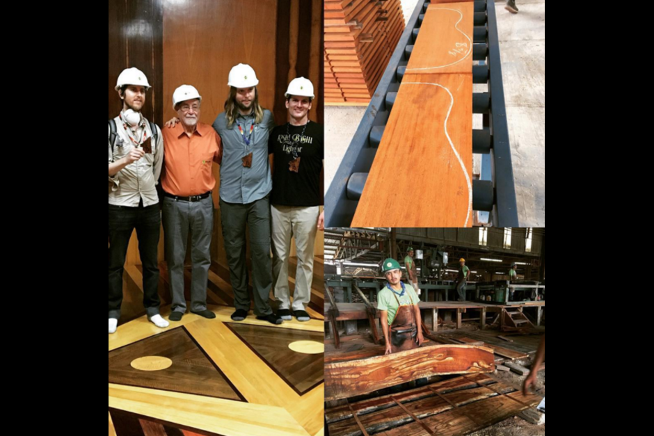 Vocalista de Guster junto a integrantes de Maroon 5, visitaron una maderera de San Andrés, Petén. (Foto: Reberb)