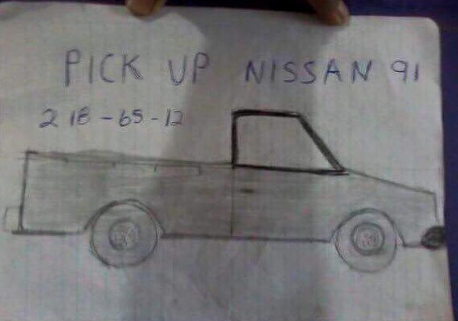 La mujer en Hermosillo, México, dibujó su camioneta robada y la publicó en la red social de Facebook, lo que fue motivo de críticas. (Foto: Facebook)