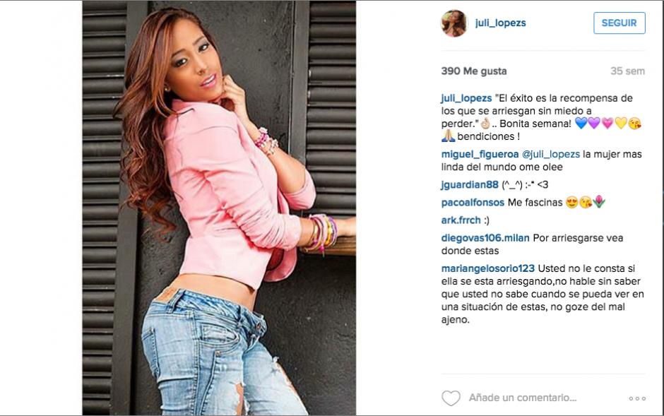 Juliana López ha recibido el apoyo de sus seguidores en Instagram. Otros internautas la acusan por la situación que está viviendo lejos de su tierra.