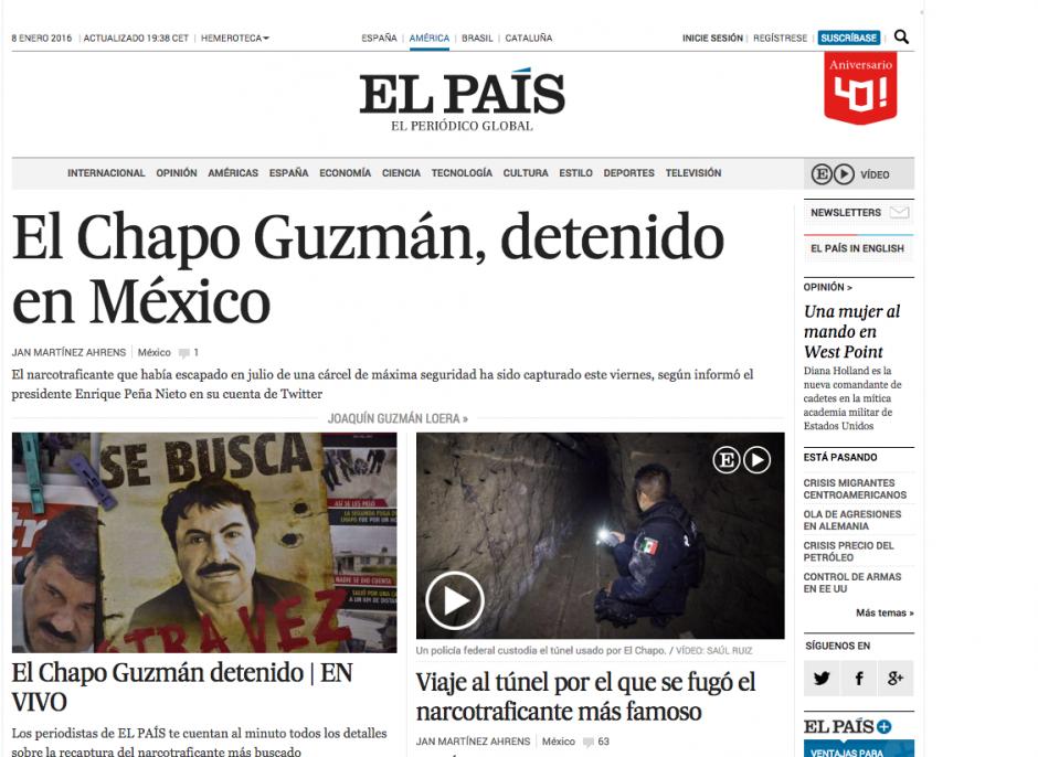 """La portada del periódico español El País informaba así sobre la detención de Joaquín """"El Chapo"""" Guzmán. (Foto: Soy502)"""
