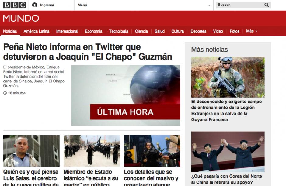La portada de BBC Mundo también actualizó su perfil para informar sobre la captura del narcotraficante. (Foto: Soy502)