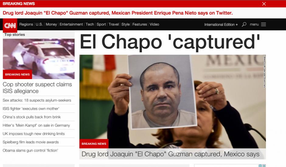 La portada de la página de noticias CNN en inglés replica la noticia de interés mundial. (Foto: Soy502)