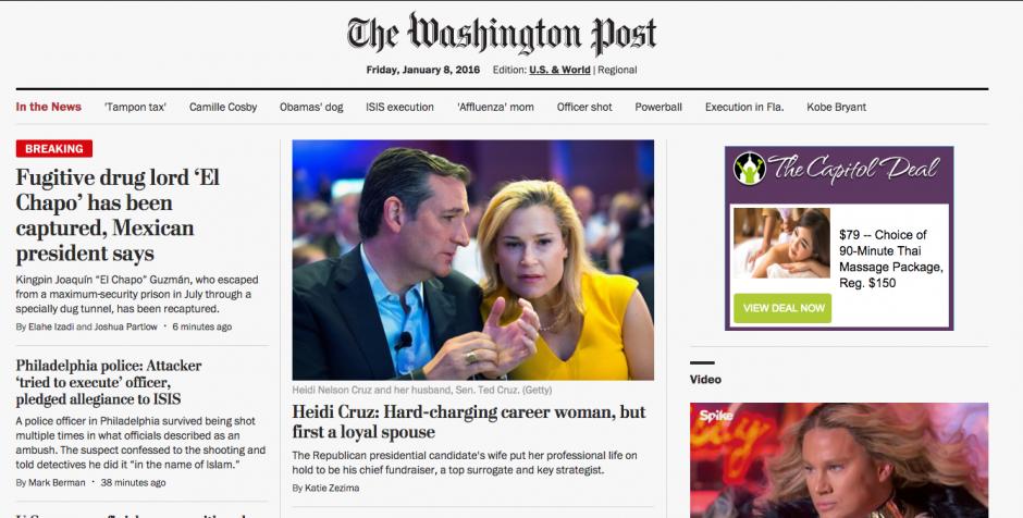 El diario The Washington Post también publicó en su portada la información. (Foto: Soy502)