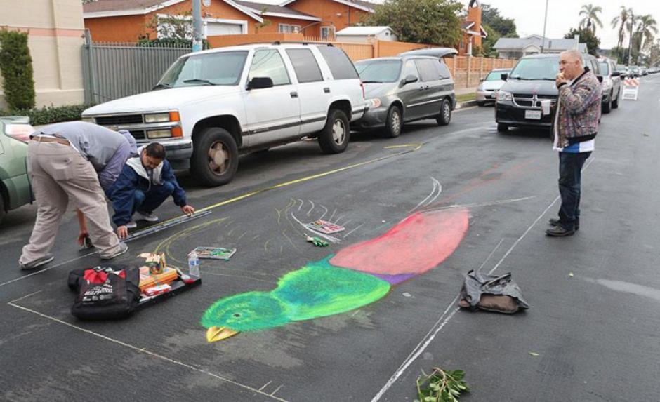 Las alfombras estuvieron llenas de creatividad y elementos guatemaltecos. (Foto: Facebook/Fraternidad de Esquipulas en Los Ángeles)