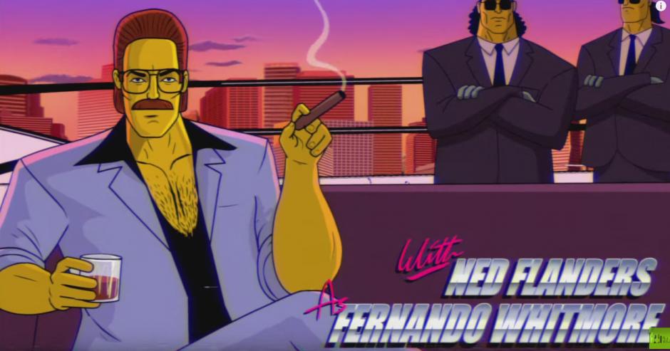 Ned Flanders no podía faltar en el intro homenaje a los años 80. (Foto: YouTube)
