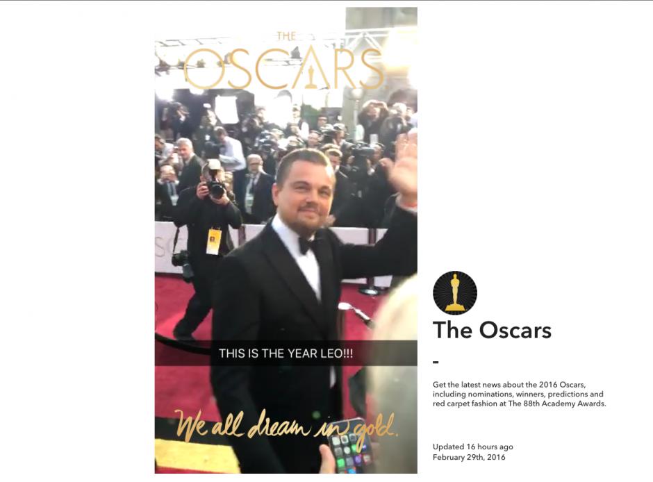 Los famosos desfilaron en la alfombra roja de los premios Óscar. (Imagen: Snapchat)