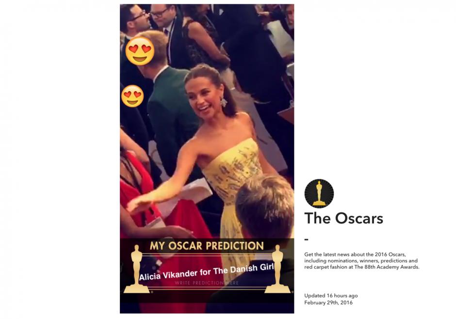 Snapchat abre una plataforma para los premios Óscar. (Imagen: Snapchat)