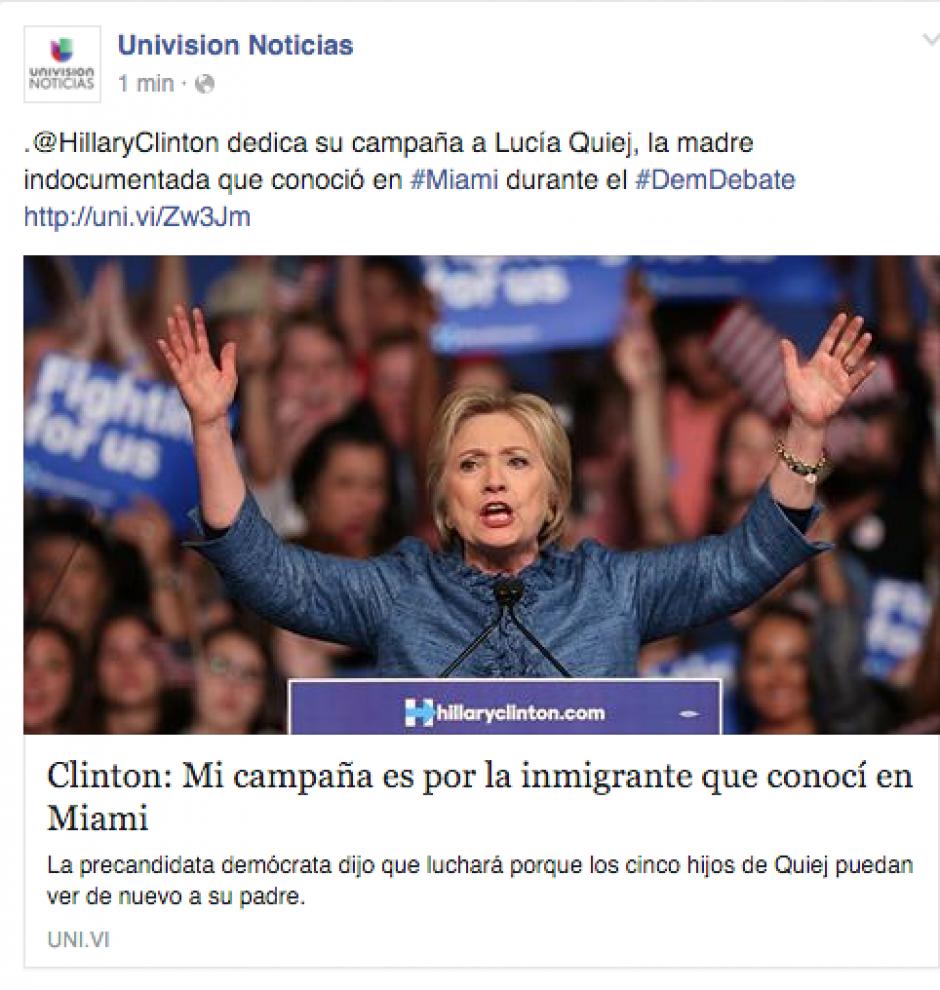 La candidata demócrata dedicó su campaña a Lucía Quiej, quien se dirigió a los candidatos en el último debate.
