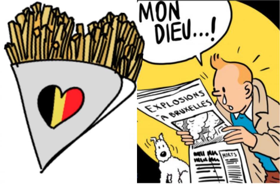 Tanto las papas fritas como el personaje de Tintín son iconos belgas. (Foto Twitter)