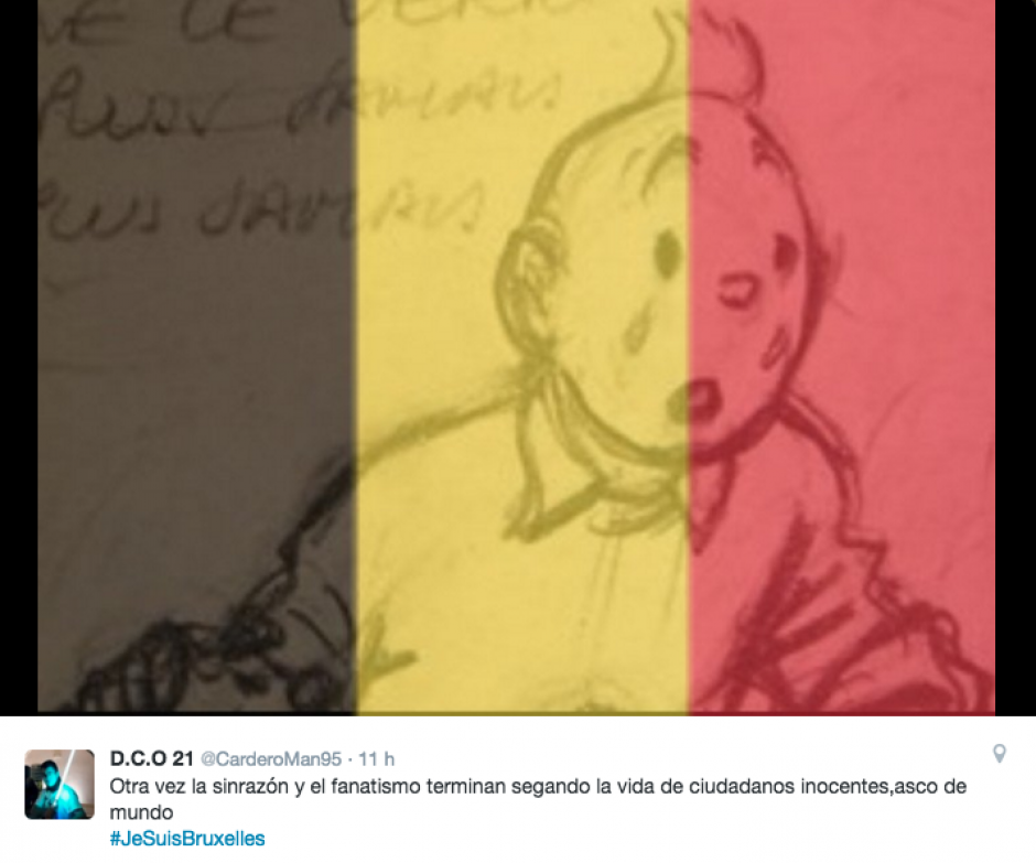Los colores de la bandera de Bélgica son comunes en los mensajes de solidaridad. (Foto Twitter)