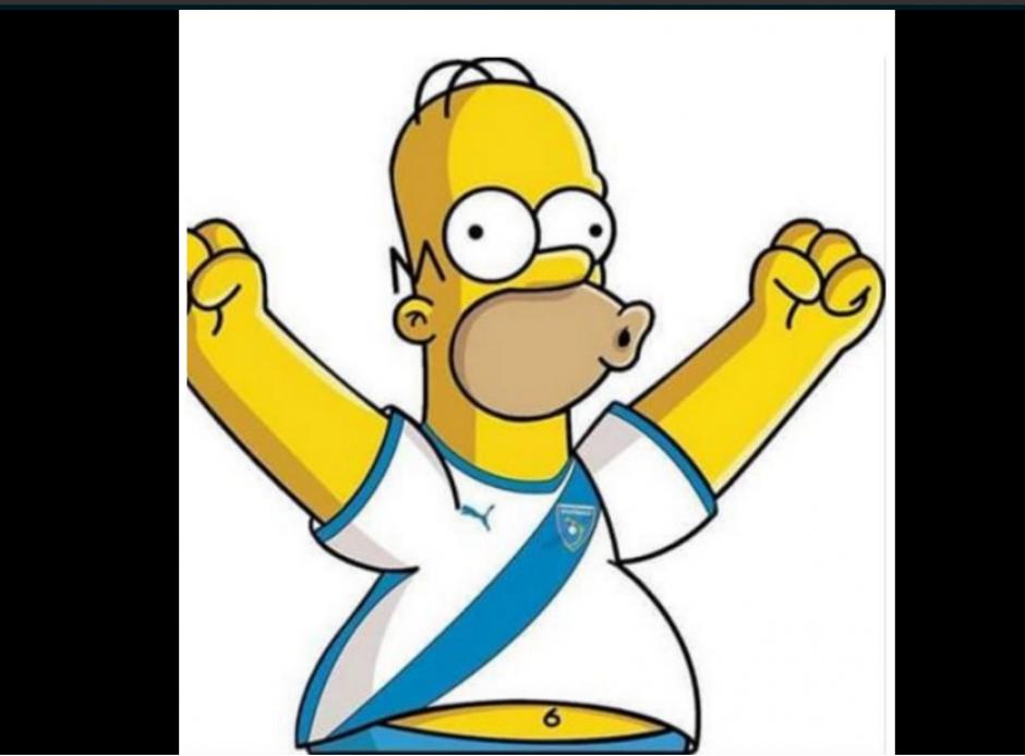Homero Simpson se puso la camiseta de Guatemala para apoyar a los guatemaltecos.