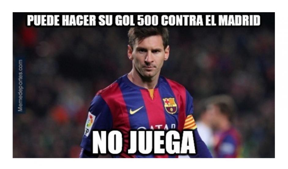 Messi no pudo celebrar su gol 500. (Foto: MemeDeportes.com)