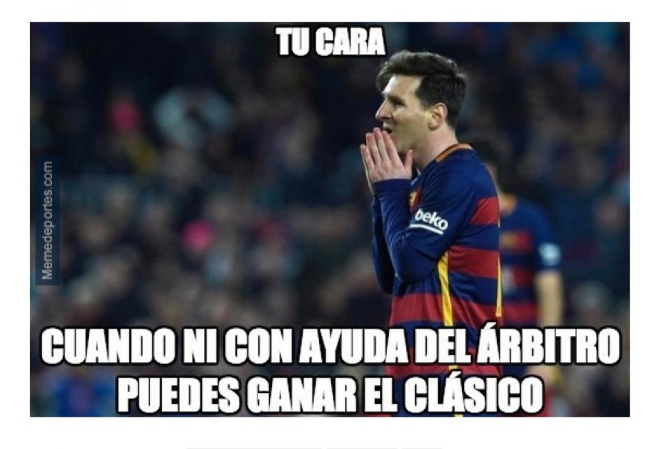 Leo Messi fue motivo de burlas luego del clásico español. (Foto: MemeDeportes.com)