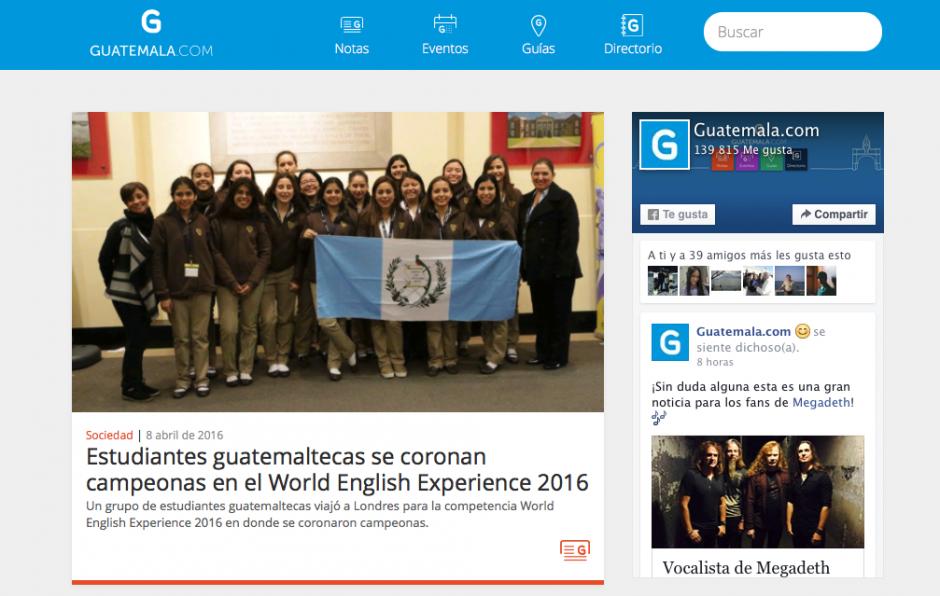 """""""Guatemala.com"""" presenta las noticias positivas que pasan en el país. (Captura Guatemala.com)"""