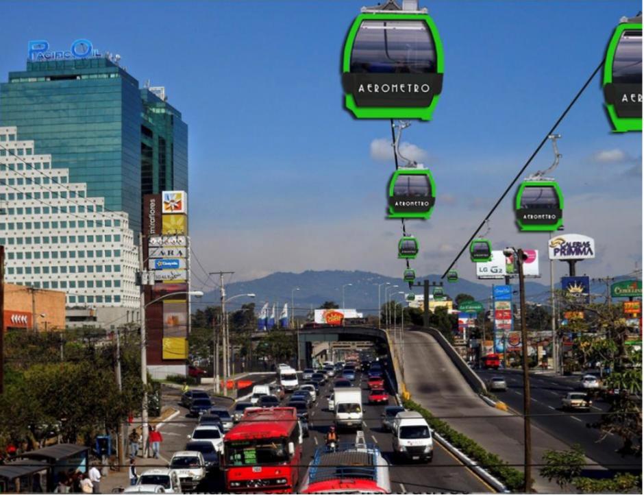 Así luciría una de las fases del Aerometro que recorrería la calzada Roosevelt. (Foto: Municipalidad de Guatemala)