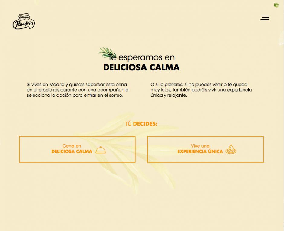 """A través de su sitio web deliciosacalma.com permite dejar los datos para ser una de las afortunadas en ganar una """"cena en deliciosa calma"""" o vivir una """"experiencia única""""."""