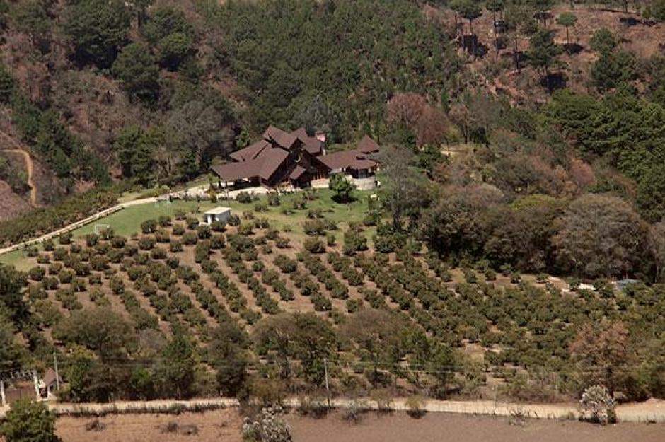 Vista área de la finca propiedad del expresidente Otto Pérez ubicada en Zaragoza, Chimaltenango. (Foto: ElPeriódico)
