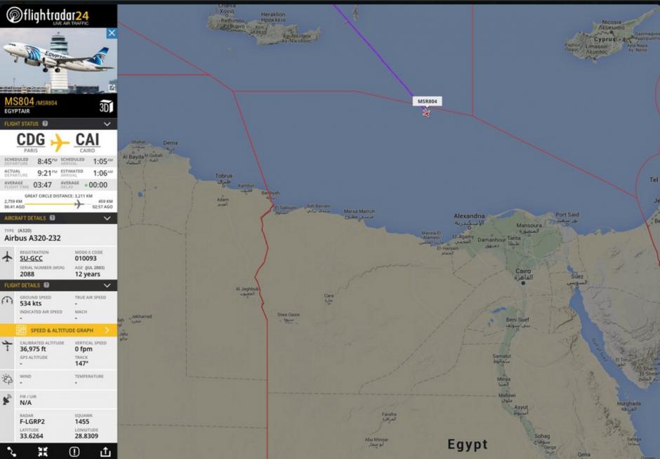 El avión habría caído al mar a 280 kilómetros de la costa de Egipto. (Foto: @Flightradar24)